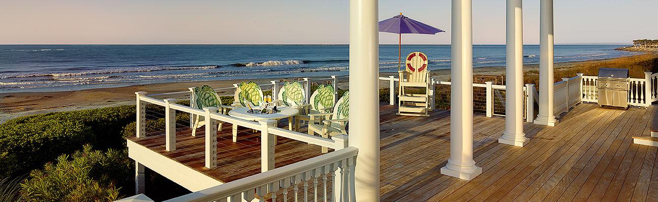 deck porch and rail coastal home back porch