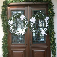 exterior home doors with wreath decorations